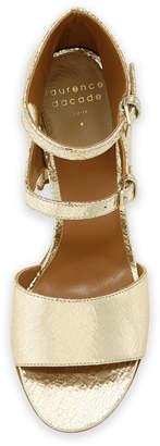 Laurence Dacade Randall Crackled Metallic Leather Block-Heel Sandals
