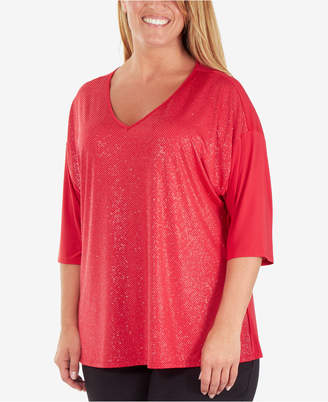 NY Collection Plus Size Sequin-Front V-Neck Top