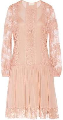 Zimmermann Karmic Lace-Paneled Silk-Georgette Mini Dress