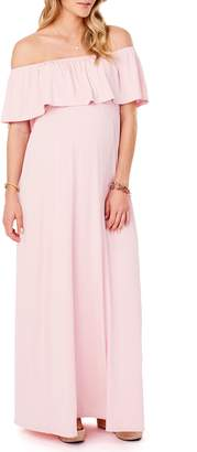 Ingrid & Isabel R) Off the Shoulder Maternity Maxi Dress