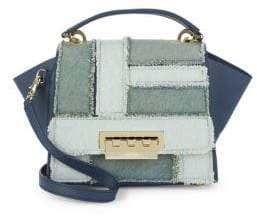 Zac Posen Eartha Iconic Denim Patchwork Top-Handle Bag