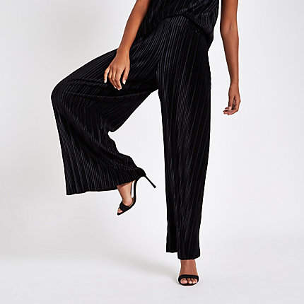 Womens Black velvet pleated jersey wide leg trousers