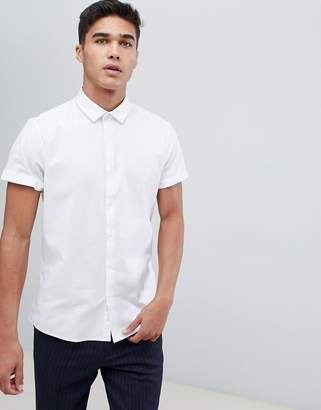 Asos Design DESIGN formal slim oxford shirt in white with short sleeves