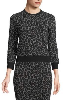 Michael Kors Crewneck Leopard-Print Stretch-Viscose Pullover Top
