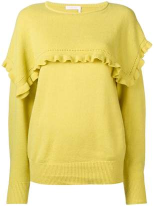 See by Chloe frill-trim fitted sweater