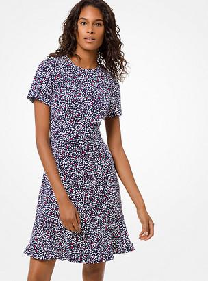 Michael Kors Heart-Print Flounce Dress