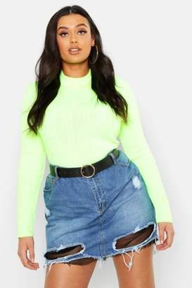 boohoo Plus Net Detail Fray Hem Denim Skirt