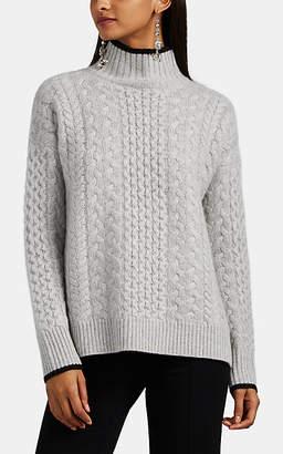 Barneys New York Women's Mixed-Stitch Cashmere Mock-Turtleneck Sweater - Gray