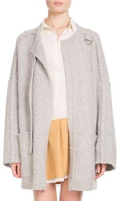 Chloé Long-Sleeve Open-Front Oversized Wool-Cashmere Cardigan