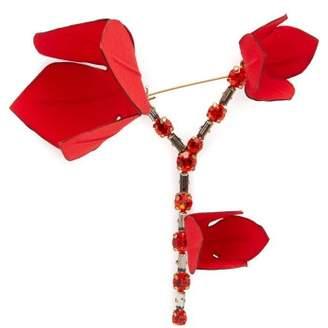 Marni Flower Crystal Embellished Brooch - Womens - Red