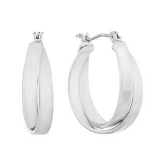 Gloria Vanderbilt Gray 1 Inch Circle Hoop Earrings