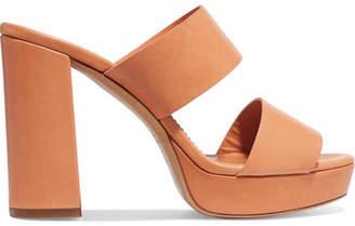 Mansur Gavriel - Leather Platform Mules - Neutral $625 thestylecure.com