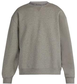 Acne Studios Logo Neck Cotton Sweatshirt - Mens - Grey