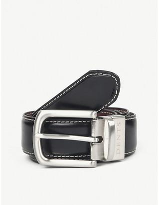 Dents Reversible constrast topstitch leather belt