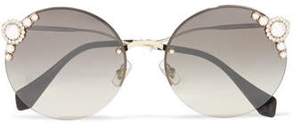 Miu Miu Embellished Round-frame Acetate And Gold-tone Sunglasses