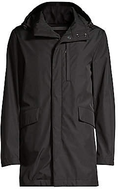 Canali Men's Zipper-Front Woven Hooded Coat