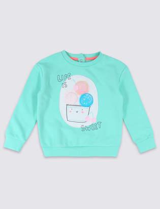 Marks and Spencer Cotton Rich Ice Cream Sweatshirt (3 Months - 7 Years)