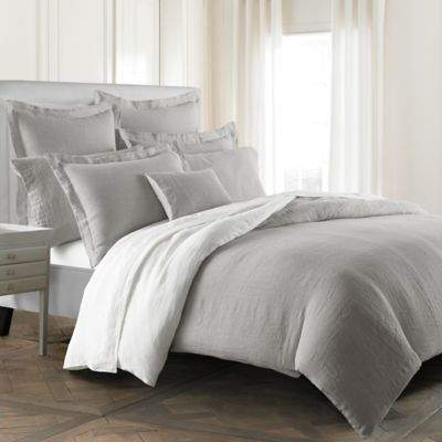 Lino Reversible King Pillow Sham in Grey/White