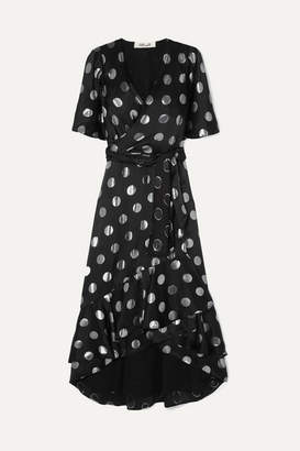 Diane von Furstenberg Sareth Fil Coupé Silk-blend Crepe De Chine Wrap-effect Dress - Black