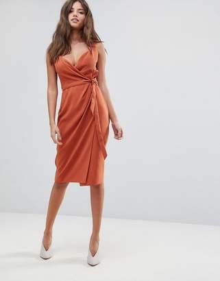 Asos DESIGN Shawl Collar Wrap Midi Dress