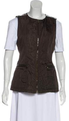 Prada Leather-Trimmed Zip-Up Vest