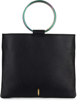 Thacker Le Pouch Leather Ring-Handle Crossbody Bag - Oil Slick Hardware
