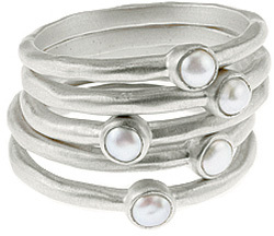 Baroni Five Pearl Stack Silver Rings