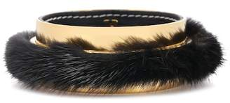 Marni Fur-trimmed bangle