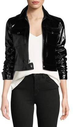 L'Agence Lex Cropped Patent Leather Moto Jacket