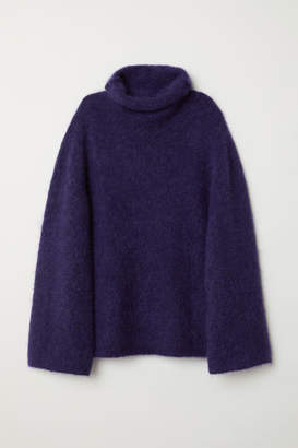 H&M Mohair-blend Turtleneck - Blue