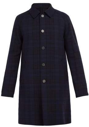 Harris Wharf London Single Breasted Checked Wool Blend Overcoat - Mens - Navy Multi