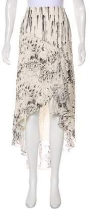 Haute Hippie Silk Printed Midi Skirt