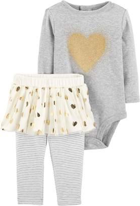 Carter's Baby Girl Glittery Heart Bodysuit & Tutu Leggings Set