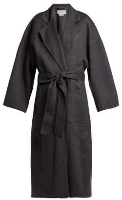Loewe Tie Waist Wool Blend Coat - Womens - Grey