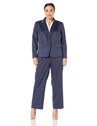 Le Suit Women's Size Plus 1 Button Notch Collar Glossy Melange Pant Suit