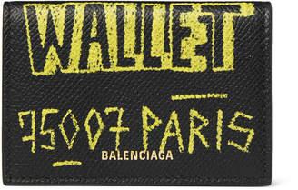 Balenciaga Printed Full-Grain Leather Trifold Wallet - Men - Black