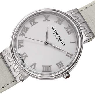 Bruno Magli 36mm Isabella Leather Watch, White/Silver