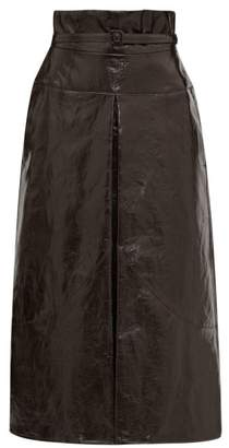 Lemaire Belted Coated Linen Midi Skirt - Womens - Dark Brown