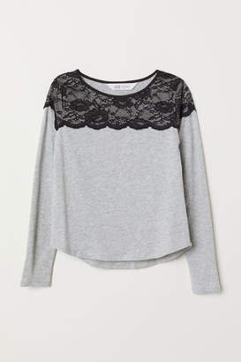 H&M Jersey Top with Lace Yoke - Gray