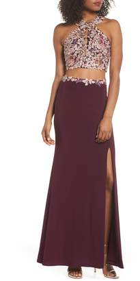 Xscape Evenings Embroidered Two-Piece Gown