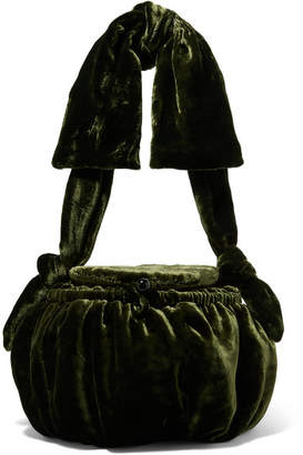Cult Gaia Joana Velvet Shoulder Bag - Forest green