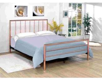 Furniture of America Daniele Contemporary Slatted Design Rose Gold Metal Bed, Multiple Sizes