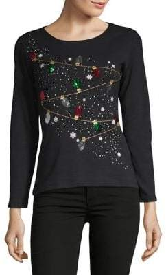 Karen Scott Petite Long-Sleeve Merry Lights Shirt
