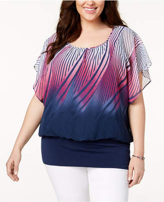 JM Collection Plus Size Printed Banded-Bottom Top, Created for Macy's