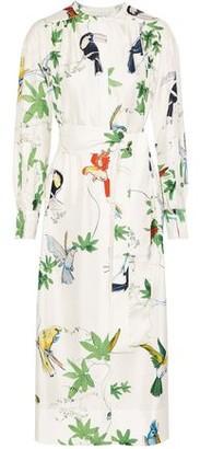 Agnona Belted Printed Silk-twill Midi Dress
