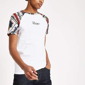 River Island Mens White 'Prolific' raglan muscle fit T-shirt