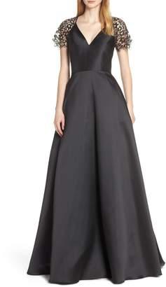 ML Monique Lhuillier Lace Sleeve Ball Gown
