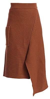 Tibi Women's Merino Wool Ribbed Origami Skirt