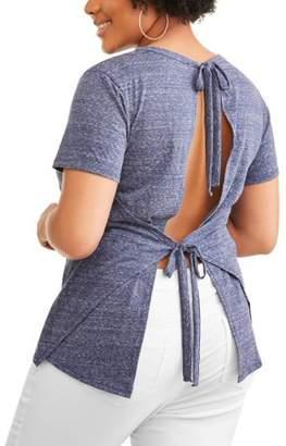 POOF-Slinky Junior's Plus Short Sleeve Top with Back Tie Detail