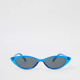 River Island Womens Blue slim cat eye pointed sunglasses
